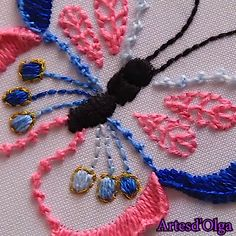 crewel and embroidery kits Basic Embroidery Stitches, Hand Embroidery Videos, Embroidery Stitches Tutorial, Embroidery Flowers Pattern, Creative Embroidery, Simple Embroidery, Learn Embroidery, Silk Ribbon Embroidery, Hand Embroidery Designs
