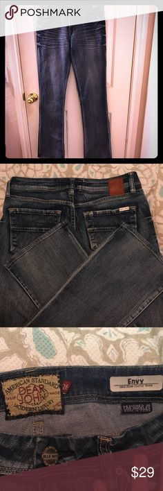 Dear John Envy Bootcut Jeans Size 26 This classic, clean jean is great pair over your favorite pair of boots. The curvy fit is perfect for work or spending a night out with family. Not only do the jeans look great, but they have the Dear John quality that you look for.   Details:       •  98% cotton, 2% spandex.       •  Bootcut.       •  Midrise.       •  Medium dark rinse. Dear John Jeans Boot Cut