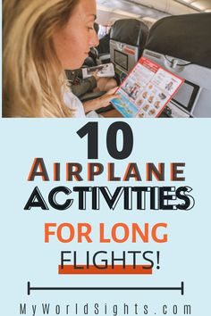 Airplane activities, airplane things to do, and how to pass time on a long flight! Carry on essentials for long flights, and what to do on a plane without WiFi! Flight activities, airplane games, and other long flight tips!