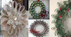 Originales coronas y decoraciones navideñas con tubos de cartón - Dale Detalles