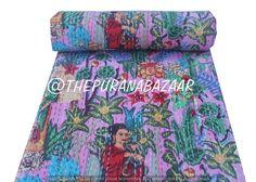 Indian Handmade Frida Cotton Kantha Quilt Tween Bedspreads Throw Frida Kahlo Printed Blanket Bohemian Bedspread Handmade Quilt 60X90 inch Cotton Bedding, Cotton Quilts, Cotton Throws, Cotton Fabric, Purple Pink Color, Bohemian Bedspread, Kantha Stitch, Fabric Remnants, Sofa Throw