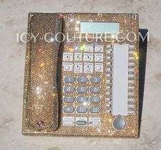 Fancy GOLD Swarovski Crystal Desk Office Home Phone via Etsy