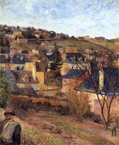 Page: Blue roofs of Rouen  Artist: Paul Gauguin  Completion Date: 1884  Place of Creation: France  Style: Impressionism  Period: Early works  Genre: cityscape  Technique: oil  Material: canvas  Gallery: Oskar Reinhart Collection, Switzerland