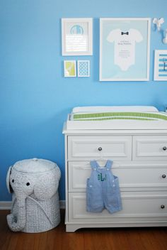 Pool Blue Nursery with White Gallery Wall