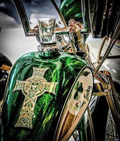 custom bike with and amazing Celtic cross
