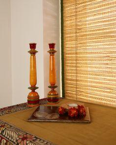 Enamelled wood candlestands