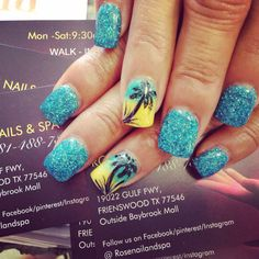 Nails Design Blue Palm Trees Ideas For 2019 Blue Nail Designs, Winter Nail Designs, Cool Nail Designs, Acrylic Nail Designs, Palm Tree Nail Art, Halloween Acrylic Nails, Vacation Nails, Nail Art Pictures, Latest Nail Art
