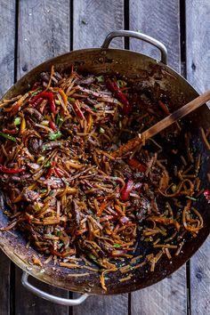 30-Minute Stir Fried Korean Beef and Toasted Sesame Noodles | halfbakedharvest.com @hbharvest