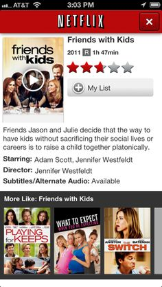 Netflix Download free; requires membership from $7.99 per month The Netflix app for Apple iPhone enhances the value of a Netflix subscription by letting you watch movies from its streaming, or Instant, service directly on your handheld device. In the latest version, Netflix has added the ability to rate movies from your smartphone, but it removed DVD (disc) queue management tools, so you'll have to use the Netflix website for that.