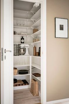 Great storage in a Swedish kitchen. Kitchen Pantry Design, Kitchen Interior, Home Room Design, Home Design Plans, Kitchen Cabinets And Countertops, Bungalow Renovation, Pantry Closet, Pantry Makeover, Small Pantry