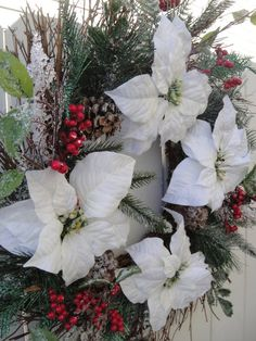 Christmas Wreath Winter White Poinsettia Wreath Poinsettia Wreath Winter Wreath Holiday Wreath Christmas Decor by donnahubbard on Etsy Twig Wreath, White Wreath, Berry Wreath, Door Wreath, Thanksgiving Wreaths, Holiday Wreaths, Holiday Ideas, Christmas Centerpieces, Christmas Decorations
