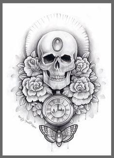 Skull, watch and moth thigh tattoo design by kirstynoelledavies.deviantart.com on @deviantART