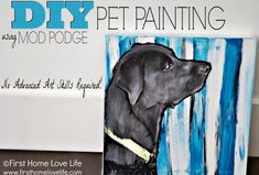 Paint Your Own Pet Portrait Using Mod Podge #diy #craft #gift #pets