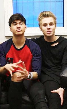 Calum and Luke. People keep calling them Cake but they're not a thing. They're like Larry. I'm scared that if one of them have a girlfriend, the fans won't believe that they're together for real. I really hope they won't be treated like Larry...