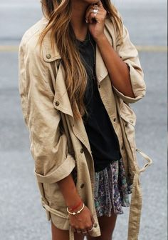jacket beige brown skirt colorful black shirt ring hipster streetstyle coat tan fashion summer outfits girly boho boho, bohemian bohemian
