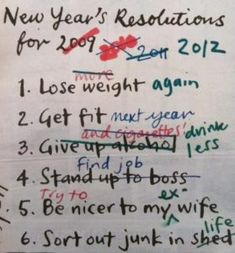 Funny pictures about New Year's Resolutions List. Oh, and cool pics about New Year's Resolutions List. Also, New Year's Resolutions List. New Years Resolution Funny, Funny New Year, Funny Note, The Funny, Funny Happy, Little Bit, Year Resolutions, Thing 1, Just For Laughs