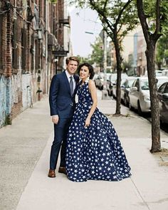 A Colorful Brooklyn Wedding with Lots of Patterns | Martha Stewart Weddings - For their May wedding, Ali envisioned covering the rustic Brooklyn Winery in vivid hues. The couple's playful personalities were reflected in details throughout the day, from the bride's starry Naeem Khan wedding dress to papier-mâché piñatas designed to look like the couple!