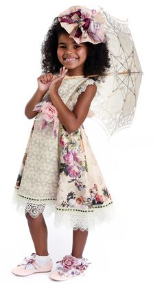 ALALOSHA: VOGUE ENFANTS: Must Have of the Day: Girls floral acquard dresses with lurex details by Little Darlings