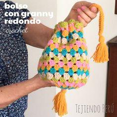 Bolso con granny redondo tejido a crochet! Paso a paso ☺️