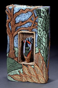 """Wall Box from Deb Leair Gallery :: Slab built box is carved,  vessel in niche is handbuilt.  Surface is terra sigilatta and copper wash.  Earthenware clay. Dimensions:  16"""" x 10"""" x 4"""" (Very unique)"""