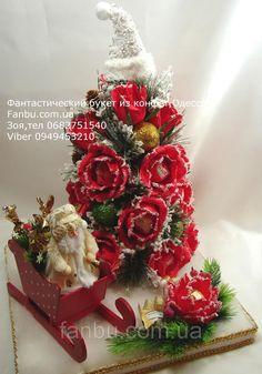 """Праздничная елка из роз и конфет """"Новогодние чудеса"""", цена 950 грн., купить в Одессе — Prom.ua (ID#618262884)"""