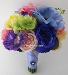 Full view of blue anemones and spring flowers real touch silk wedding bouquet