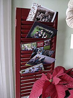 Christmas card display idea., use shutters or ideally old closet doors.