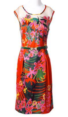 Orange Sleeveless Floral Bow Belt Silk Dress