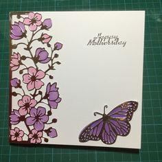 Pink flowers & butterflies card