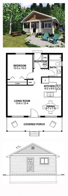 narrow lot house plan 99971 total living area 598 sq ft 1 bedroom amp 1 bathroom this little cabin is just perfect for kicking back and enjoying your relaxation time either indoors or on the front porch narrowlot - PIPicStats Narrow Lot House Plans, House Plans One Story, Best House Plans, Tiny House Plans, Narrow House, Little House Plans, Square House Floor Plans, Small House Plans Under 1000 Sq Ft, Tiny Home Floor Plans