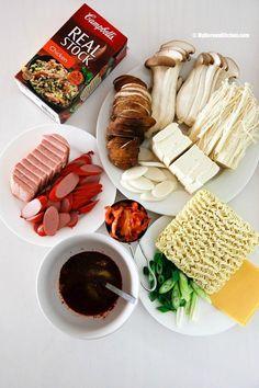 Popular Korean hot pot - Army stew ingredients   MyKoreanKitchen.com