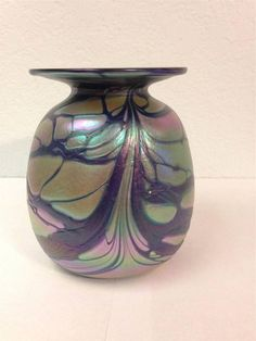 Rick Hunter Hand Blown Art Glass Iridescent Cobalt Mini Vase Signed 5 inch