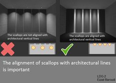 Lighting design Guide for Vertical Surfaces The alignment of scallops with architectural lines is Lighting Concepts, Lighting Design, Shop Lighting, Interior Lighting, Kitchen Cabinets Drawing, Study Table Designs, Blitz Design, Modern Wall Lights, Art Deco Home