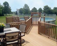 228 best above ground pool decks images in ground pools for Above ground pool decks attached to house