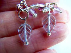 Lavender Leaves Earrings Purple Leaves Doodaba Glass by doodaba Purple Earrings, Leaf Earrings, Dangle Earrings, Lavender Leaves, Bead, Trending Outfits, Unique Jewelry, Handmade Gifts, Glass