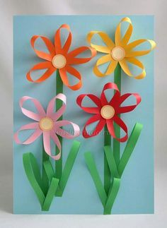 carterie, pergamano et tableaux - Page 13 Paper flowers Craft Activities, Preschool Crafts, Easter Crafts, Fun Crafts, Diy And Crafts, Spring Crafts For Kids, Summer Crafts, Art For Kids, Flower Crafts