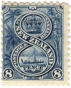 New Zealand postage stamp: Maori canoe  c. 1898
