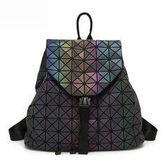 b6d1911fdc89 New Bao Bag Backpacks Women Geometric Patchwork Diamond Backpack For  Teenage Drawstring Bag mochila School bag for Girl 2018