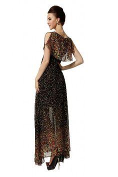 Goodgoods Dazzling Bohemian Summer Beach Maxi Chiffon Dress at Amazon Women's Clothing store: