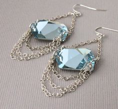 Aquamarine Earrings Swarovski Crystal Jewelry by michabella