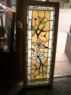 Antique 1890's Victorian Stained Beveled Glass Window Transom Side Light | eBay Stained Glass Flowers, Stained Glass Designs, Stained Glass Patterns, Stained Glass Windows, Beveled Glass, Mosaic Glass, Glass Art, Window Display Design, Shop Window Displays