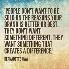 Bernadette Jiwa's new book, Difference: The One-Page Method for Reimagining Your Business and Reinventing Your Marketing, is a must-read for every marketer. Her thoughts on making a difference in the customer experience are far-reaching and profound. #marketing #differenceis