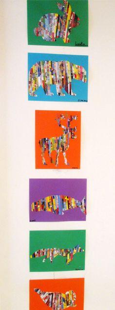 Les animaux de l'Artique: Arts plastiques - Animals of the Arctic: Magazine Art: Collage Kunst, Art Du Collage, Classe D'art, School Art Projects, Middle School Art, Camping Crafts, Recycled Art, Recycled Magazines, Art Classroom