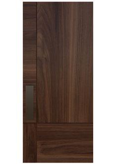 GRIDZ A custom door with select grade wood in an unassuming grid pattern creates interest through the directional play of wood grain. Rendering shown in Walnut. Wooden Front Door Design, Wooden Front Doors, Bedroom Door Design, Door Design Interior, Exterior Design, Modern Wood Doors, Flush Door Design, Porte Design, Flush Doors