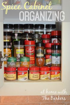 Spice Cabinet Organizing done in 5 minutes and for $5!  You gotta love that!  Inspiration by At Home With The Barkers.