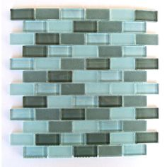 """Abolos Free Flow 1"""" x 2"""" Glass Mosaic Tile in Turquoise"""