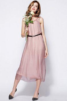 LUCLUC Pink Scoop Sleeveless Silk Long Dress