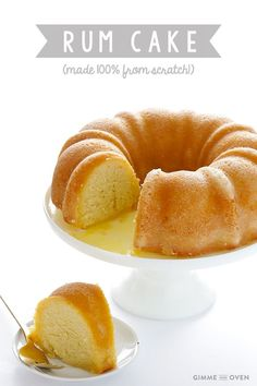 This rum cake recipe is made from scratch, with rum baked into a delicious yellow bundt cake and drizzled with a butter-rum sauce.