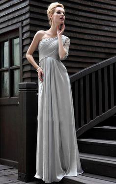 1 Ärmel 1-Schulter Chiffon A-Linie Bodenlanges Abendkleid