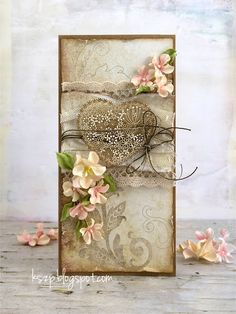 Klaudia/Kszp, pastel card with flowers, lace, wooden heart